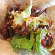 Old Mexico Restaurant - A barbacoa taco, w/lettuce, cheese, salsa and sour cream. - Anaheim, CA, Vereinigte Staaten