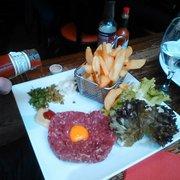 Café Roussillon - Paris, France. tartare & jaune d'oeuf