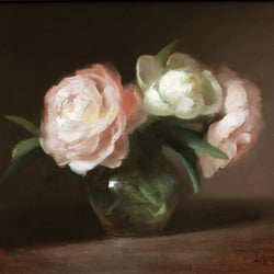"Leah Lopez Atelier - New York, NY, États-Unis. Oil Painting by Leah Lopez, ""Three Peonies""."