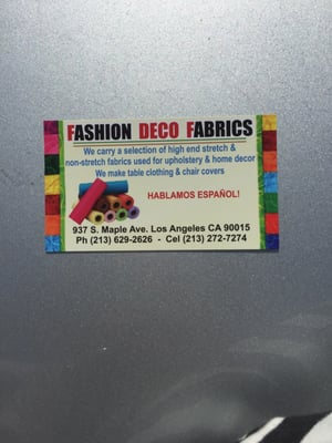 Fashion deco fabrics fabric haberdashery 937 maple ave downtown los angeles ca united - Deco fabriek ...