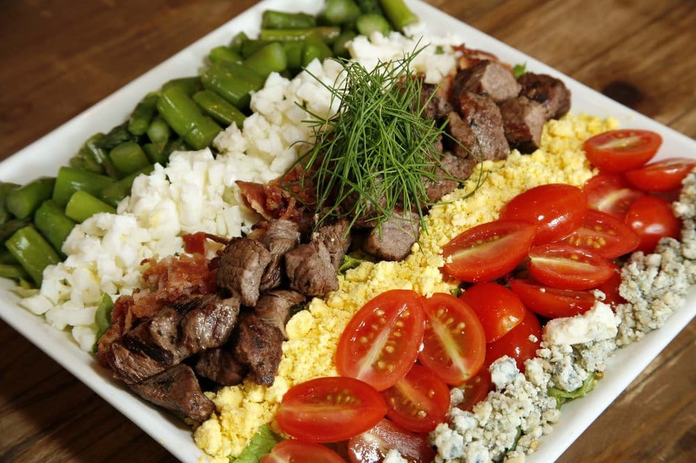 Classic cobb salad with grilled beef tenderloin and bacon-blue cheese ...