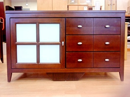 Floor model tv stand w frosted glass door measures 22 d x for Gothic cabinet craft new york ny