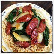 U-Lee Restaurant - Chinese Sausage and Tender Green on Rice - San Francisco, CA, United States