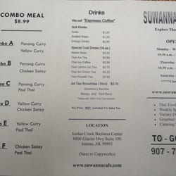 Suwanna Cafe Juneau Menu
