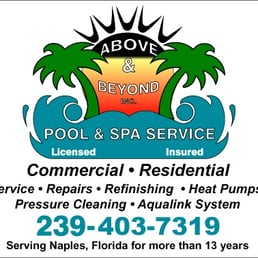Above beyond pool spa service pool cleaners 6017 for Above and beyond beauty salon