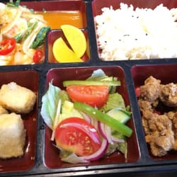 Seafood bento with salt & pepper chicken…