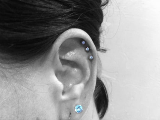 Triple helix piercing by burt holez yelp for 3rd dimension salon