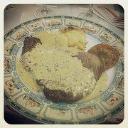 Steak sauce au poivre, avec gratin…