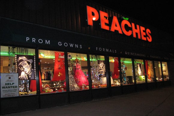 Inside are prom dress store. Peaches Showroom