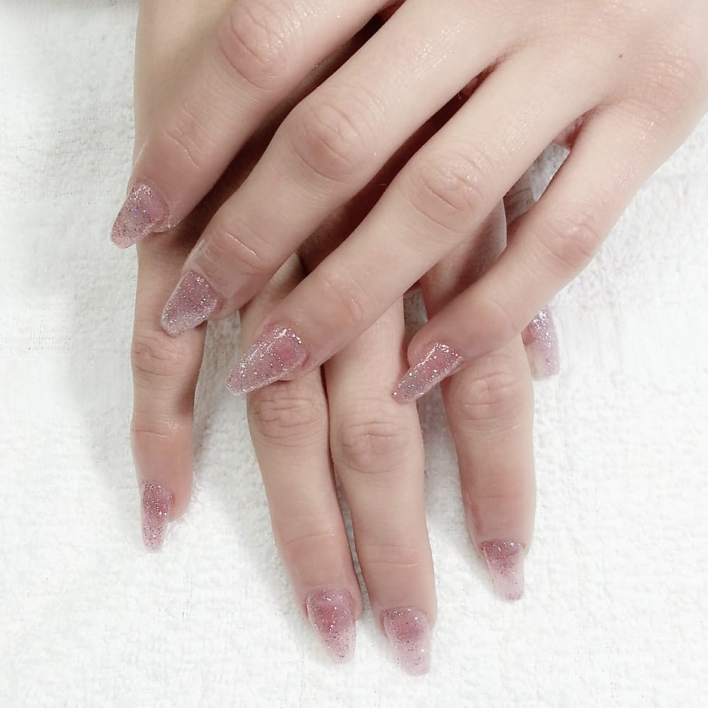 Fullset Pink Glitter Gel Color Coffin Nails Ballerina