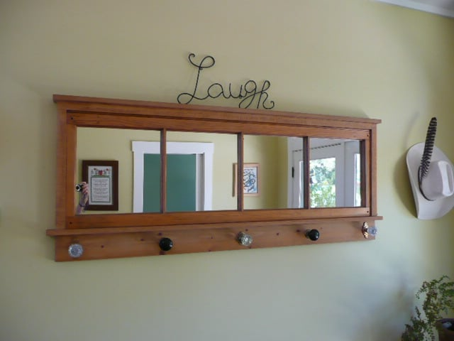 wall mounted coat rack with mirror 2