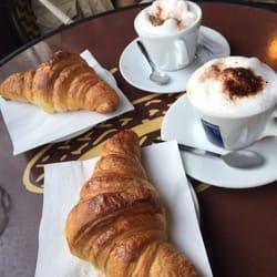 L'Entrepot's - Paris, France. Butter croissants and lattes