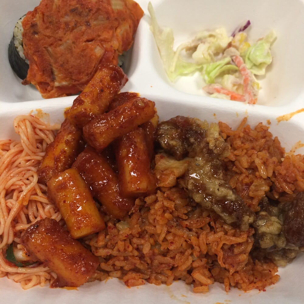 ... salad, spicy cold noodle, ddukbokki, kimchi fried rice & BBQ chicken