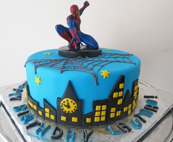 fondant spider man birthday cake on birthday cakes made to order near me