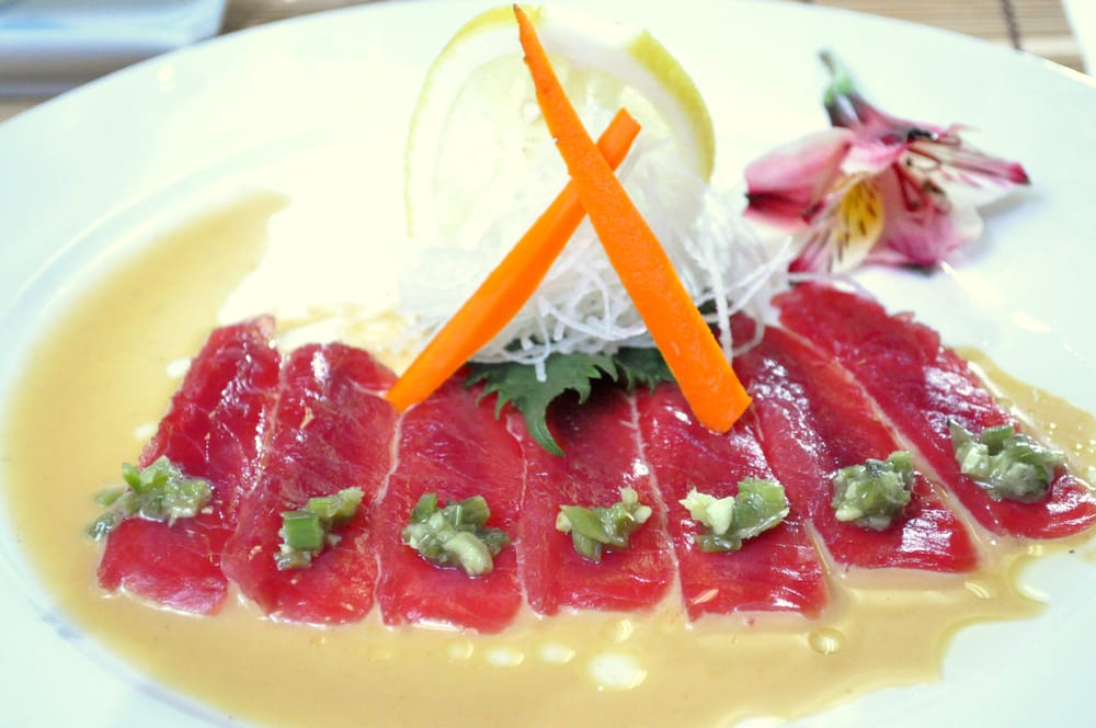 ... Carpaccio (Tuna/ Yellowtail/ Salmon, w/yuzu,kizani wasabi, olive oil