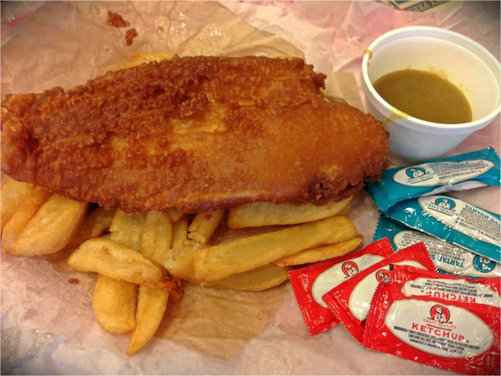 ... United States. Fish & Chips with Curry Sauce, Tartar Sauce or Ketchup