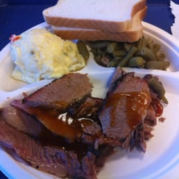 Brisket plate with potato salad and green beans. $8.95