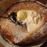 Blueberry pan baked cake with ice cream and cream. 30 min+ wait is worth it!!