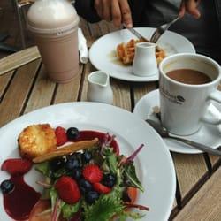 Strawberry Brie salad, coffee, waffle,…
