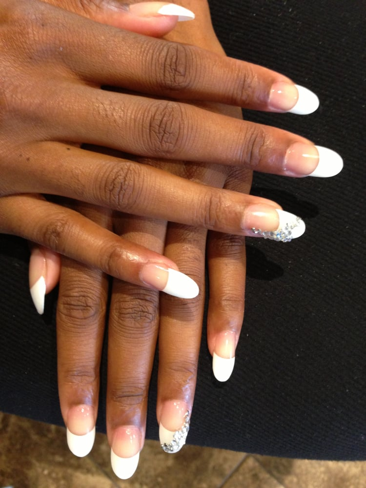 French Tip Acrylic Nails Round French tip acrylic rounded