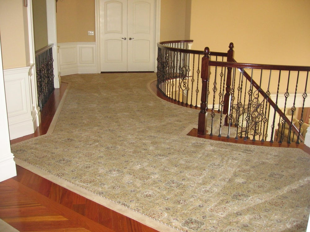 custom upper hallway runner with rope and outside border With g fried flooring