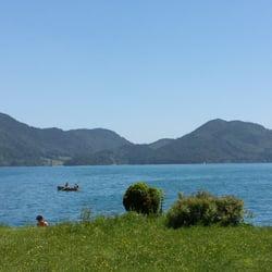 Blick vom Biergarten auf den Walchensee