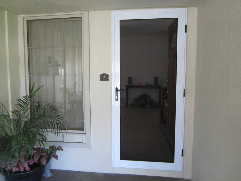 White guarda protective security screen door yelp - White security screen door ...