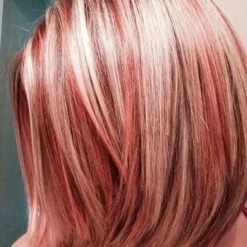 Strawberry blonde highlights in auburn hair dynamix hair salon 15