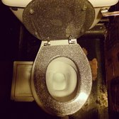 Glitter toilet seats in the women's bathroom, POSH