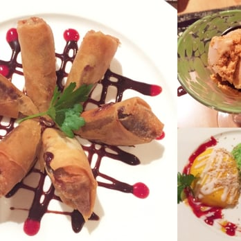 Ratchada Thai & Laos Cuisine - Philadelphia, PA, États-Unis. My favorite course : Desserts! Loved the fried banana/chocolate rolls and the mango sticky rice, but I'd pass on the Thai tea ice cream.