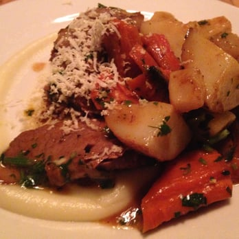 ... Braised in Red Wine with Glazed Root Vegetables & Shaved Horseradish