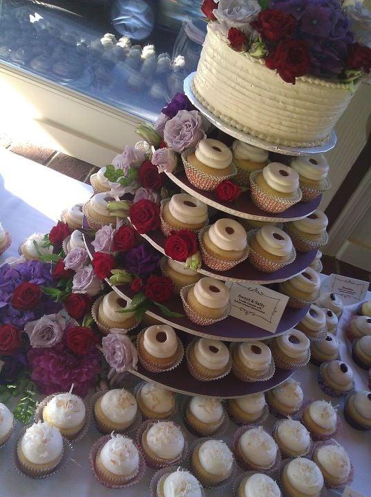 ... cupcake wedding cake. Salty caramel, Truly Tropical, Oreo, Tiramisu