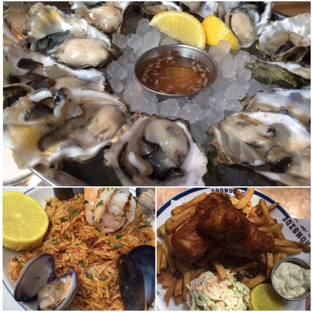 Oysters fish and chip and some seafood dish with rice for Ironside fish and oyster san diego