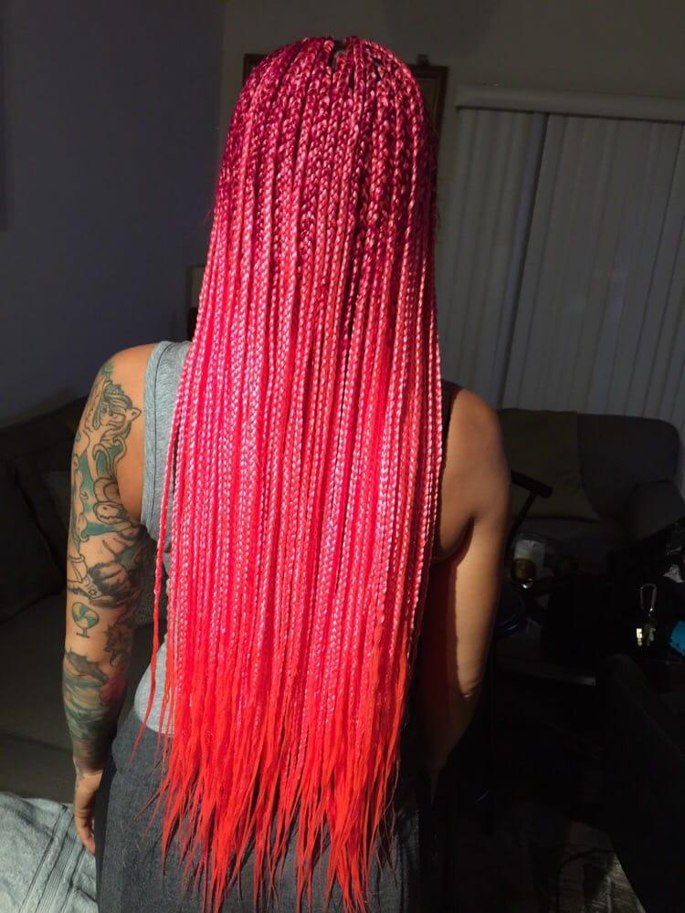 pink hair medium box braids yelp