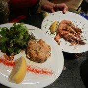 Tartare de saumon au basilic & gambas…