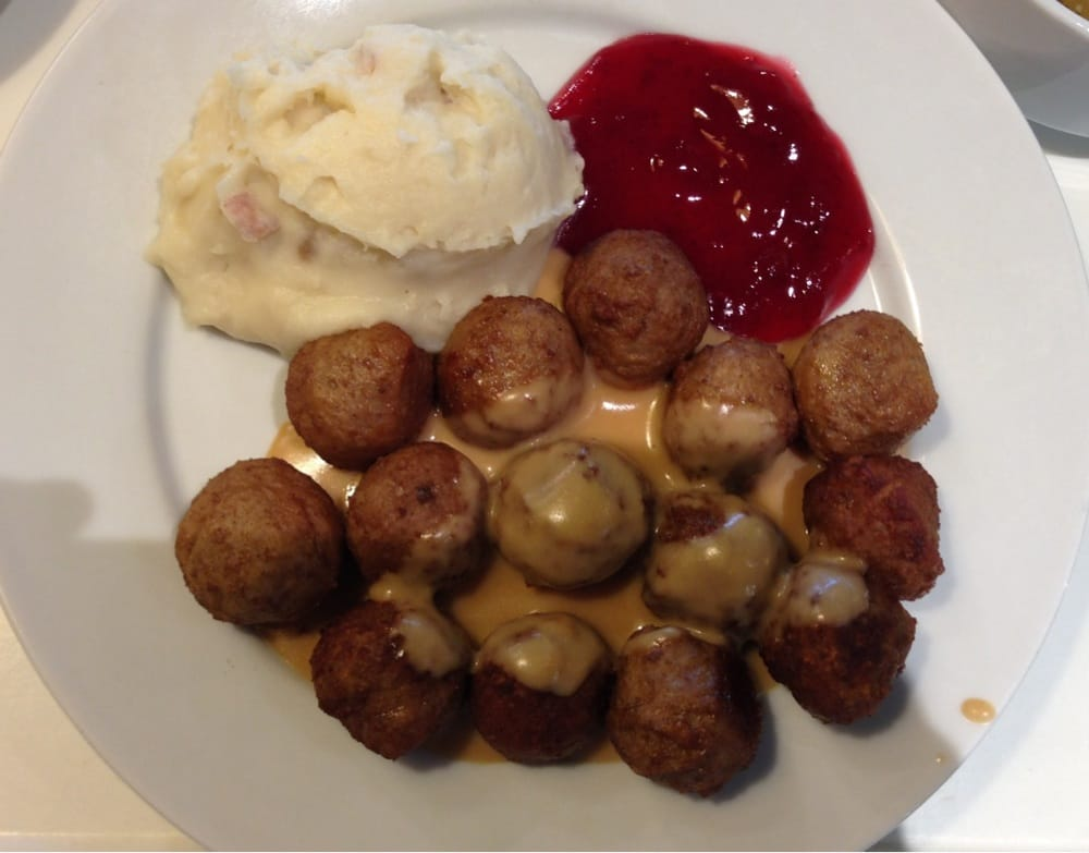 ... Swedish Meatballs - meatballs served with mashed potatoes, cream sauce