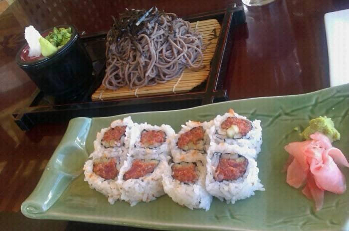 Yokohama Sushi Japanese Restaurant - Zaru Soba and Spicy Tuna Roll ...