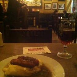 Small portion of bangers and mash