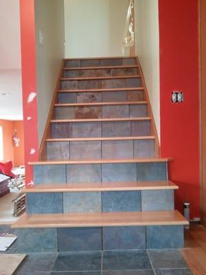 Custom Staircase Installation Slate Tile Installed On The