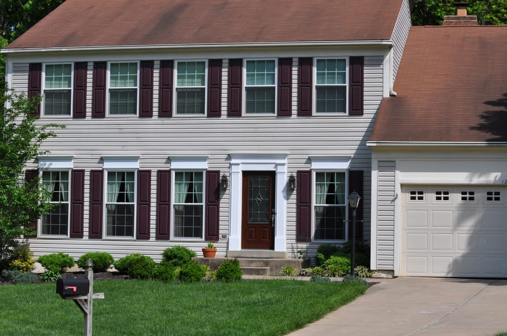 Installed marvin infinity double hung windows fypon for Fypon exterior shutters