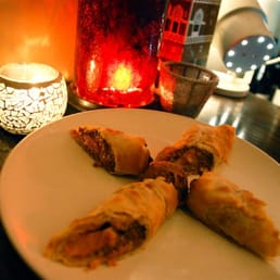 Salmon Baklava-- A sweet savory combo of salmon wrapped in phyllo dough with a delicious mustard sauce.