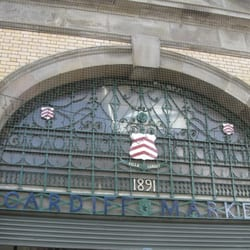 The front entrance to Cardiff Market provides some clues about when it was first established