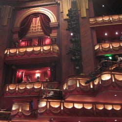 Side view of balconies facing stage at…