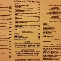 Lawrence fish market menu september 2014 chicago il for Lawrence fish market menu