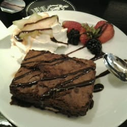 Brownie for dessert! Served warm with cream and some fruits!