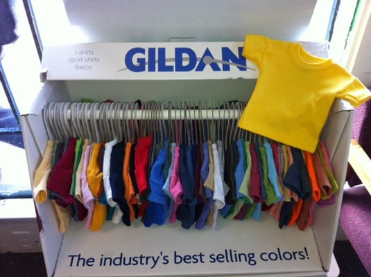 Mini t shirt display with all colors offered through for Silk screen shirts near me