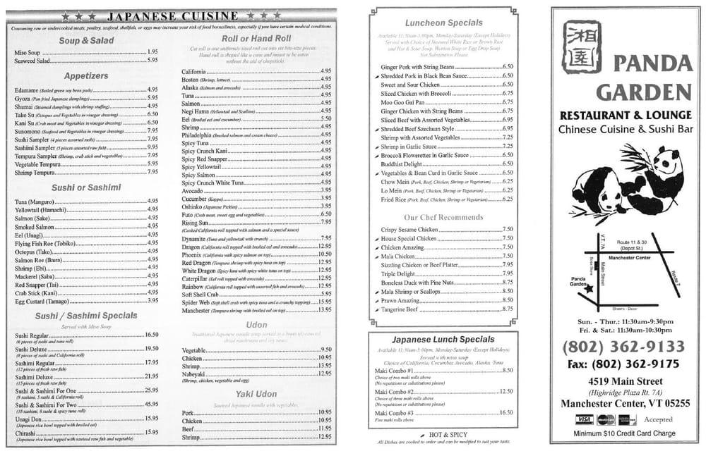 Panda Garden Closed Chinese Restaurants 4519 Main St Manchester Vt United States