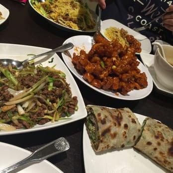 ... orange chicken, scallion lamb, Singapore noodles and hot and sour soup