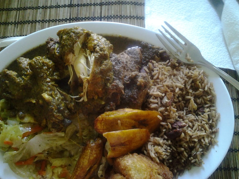 Dinner combo curry chicken brown stew chicken rice for Ackee bamboo jamaican cuisine