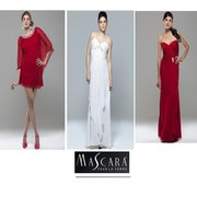 Mascara Collection: from left to right - Scarlet Diamonte Batwing Dress £150, Ivory Full Length Evening Dress £150, Scarlet